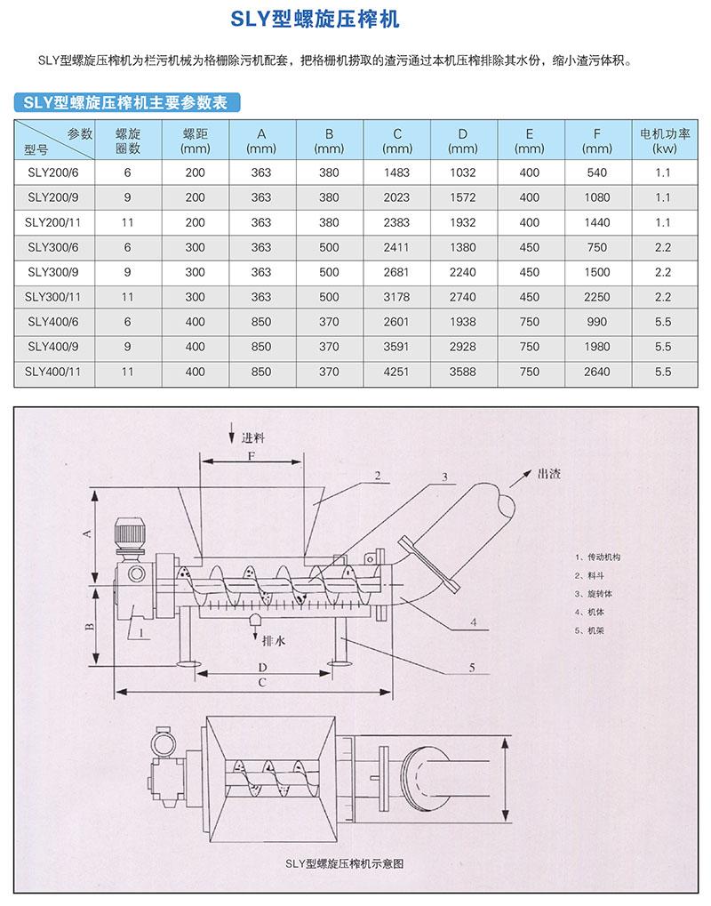 SLY型螺旋压榨机